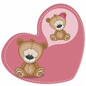 stock photo of cute bears  - Greeting card Cute Dreaming bear on a heart background - JPG
