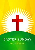 picture of easter card  - Easter card template in the form of the cross of Calvary against the rising sun - JPG