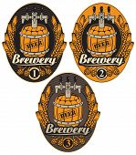 stock photo of keg  - Set oval label with a beer keg and the word brewery - JPG