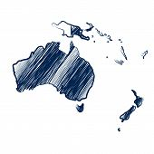 picture of continent  - Australia continent  map hand drawn background vector - JPG