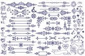 picture of snow border  - Doodles love decor elements set - JPG