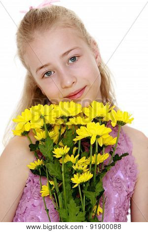 Closeup portrait of a beautiful girl