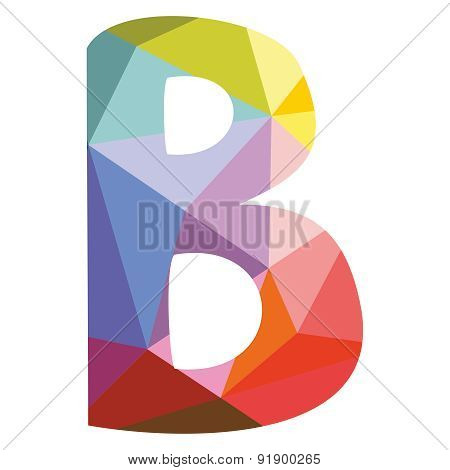 B wrapping surface vector letter isolated on white background