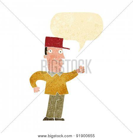 cartoon man punching air with speech bubble