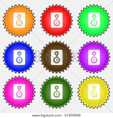 Video Tape  Icon Sign. A Set Of Nine Different Colored Labels. Vector