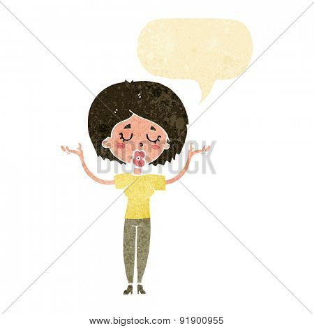 cartoon peaceful woman with speech bubble