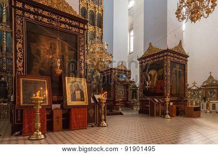 Interior of Trinity Cathedral in Kremlin in Pskov