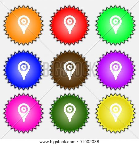 Map Pointer, Gps Location  Icon Sign. A Set Of Nine Different Colored Labels. Vector