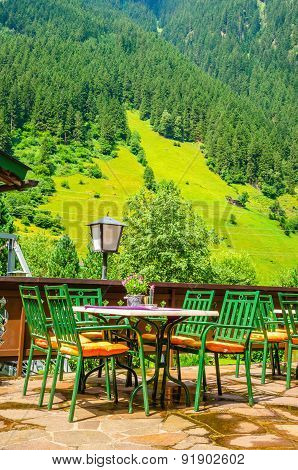 Small Alpine restaurant on terrace, Austria