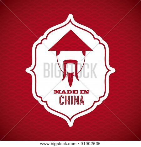 China design over red background vector illustration