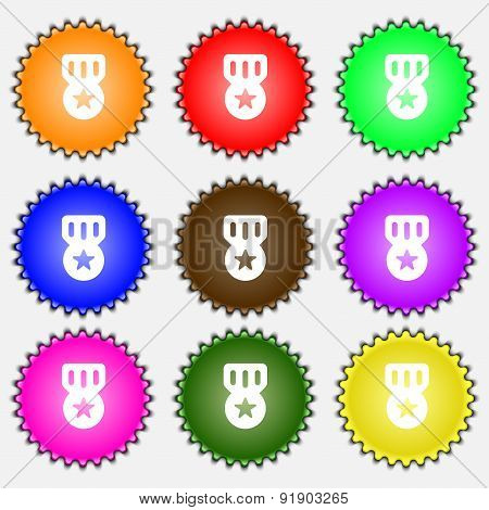 Award, Medal Of Honor  Icon Sign. A Set Of Nine Different Colored Labels. Vector