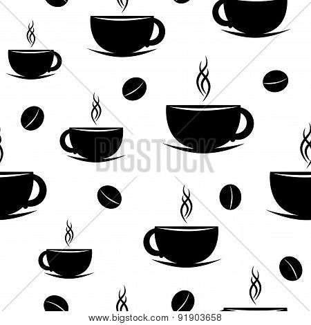 Seamless coffee cup silhouette and beans