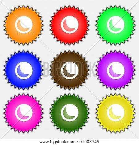 Moon  Icon Sign. A Set Of Nine Different Colored Labels. Vector