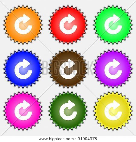 Upgrade, Arrow  Icon Sign. A Set Of Nine Different Colored Labels. Vector
