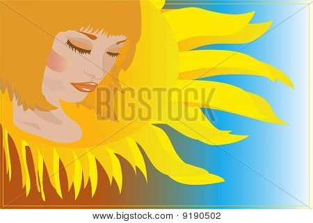 Abstraction with girl and sun.