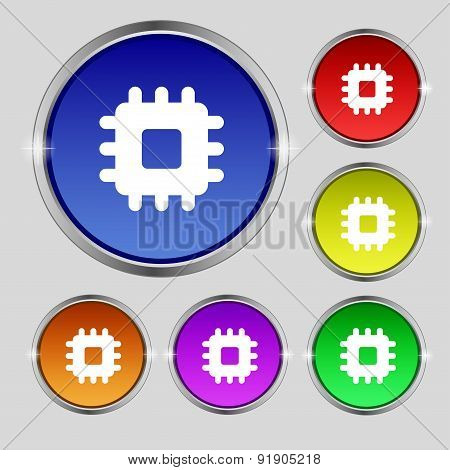 Central Processing Unit Icon Sign. Round Symbol On Bright Colourful Buttons. Vector