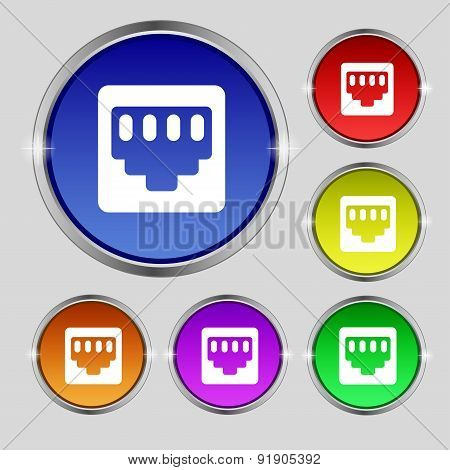 Cable Rj45, Patch Cord Icon Sign. Round Symbol On Bright Colourful Buttons. Vector