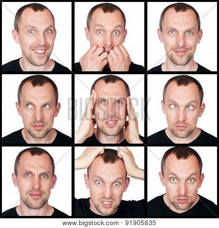 set of emotions of man