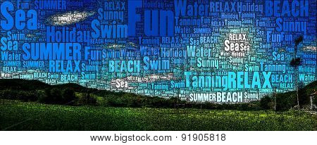 Holiday and Summer Illustration made ONLY with WORDS. Image concept related to relax, summer, hot, beach, happiness, sunset and vacation.