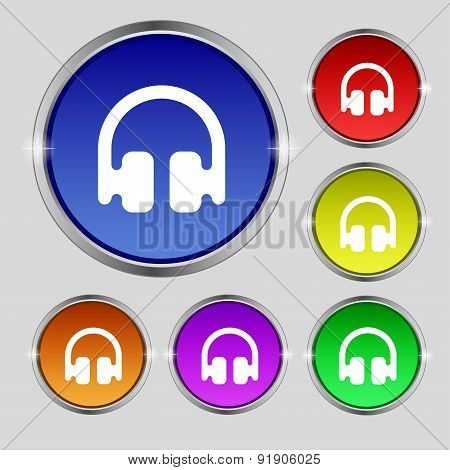 Headphones, Earphones Icon Sign. Round Symbol On Bright Colourful Buttons. Vector