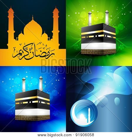 vector collection of attractive background of ramadan kareen with qaaba sharif and mosque illustration