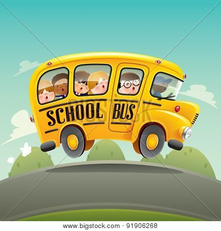 School bus driving with kids.