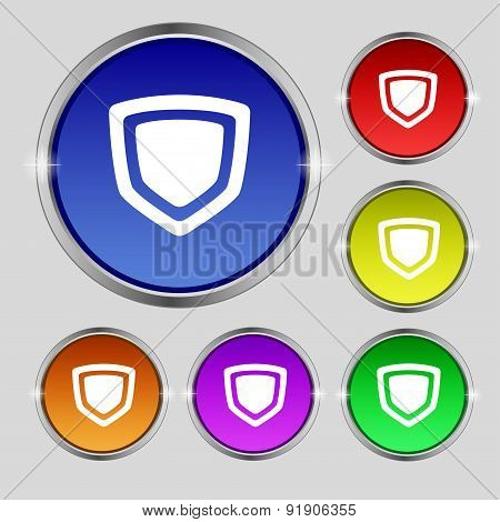 Shield Icon Sign. Round Symbol On Bright Colourful Buttons. Vector