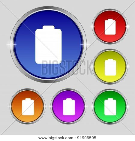 Battery Empty, Low Electricity Icon Sign. Round Symbol On Bright Colourful Buttons. Vector