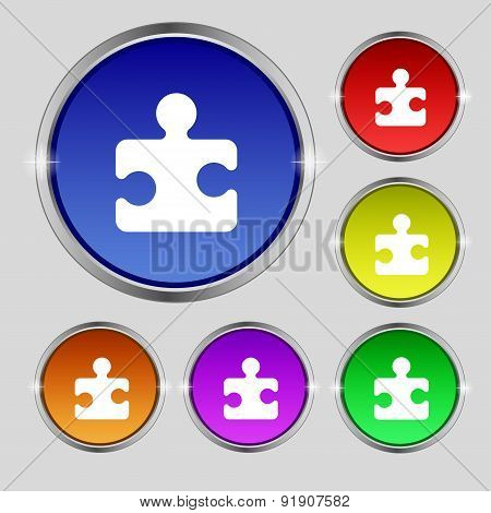 Puzzle Piece Icon Sign. Round Symbol On Bright Colourful Buttons. Vector