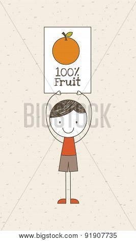 Fruits design over beige background vector illustration