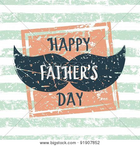 Happy Fathers Day, Vector Greeting Card. Stripe Seamless Pattern With Square Grunge Frame And Mens M