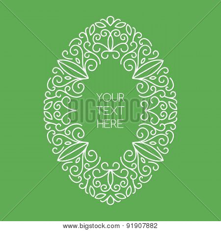 Vector Line Art Style Oval Frame With Place For Text. Abstract Floral Decorative Background In Green