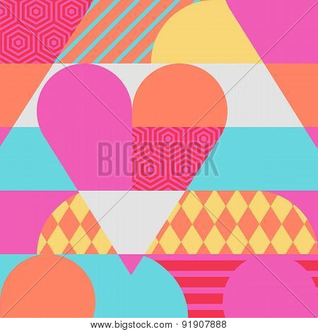 Vector Creative Romantic Seamless Pattern With Multicolor Heart. Abstract Flat Geometric Background