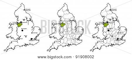 Cheshire located on map of England