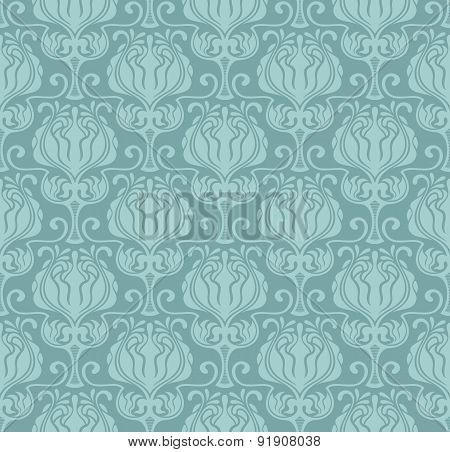 Blue Floral Seamless Vector Pattern