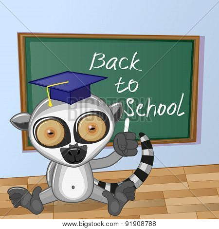 Cartoon Lemur Wrote In Classroom