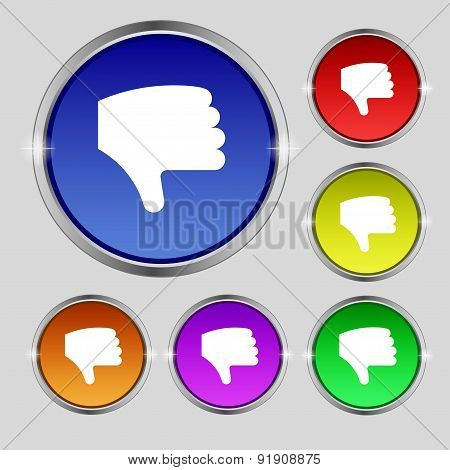 Dislike, Thumb Down, Hand Finger Down Icon Sign. Round Symbol On Bright Colourful Buttons. Vector