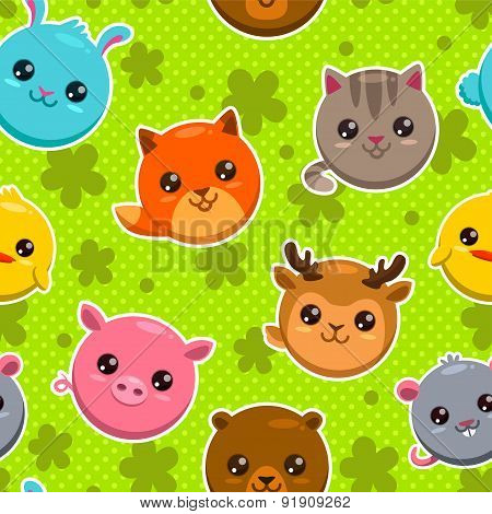 Pattern With Animal Faces
