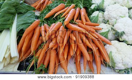Fresh Organic Carrots At The Local Market : Lyon, France