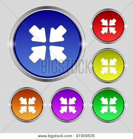 Turn To Full Screen Icon Sign. Round Symbol On Bright Colourful Buttons. Vector