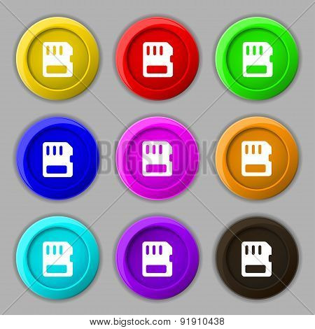 Compact Memory Card Icon Sign. Symbol On Nine Round Colourful Buttons. Vector