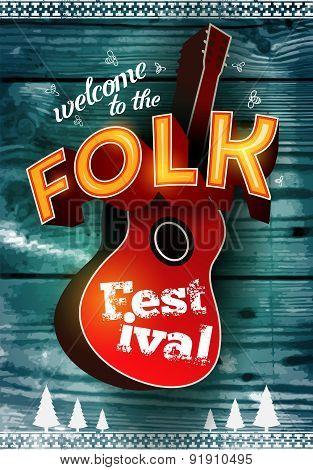 Folk festival poster with acoustic guitar shape on wood background. Vector illustration. Eps 10.