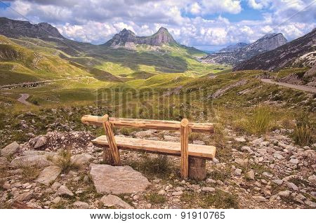 bench look out on mountain of Durmitor National Park, Montenegro