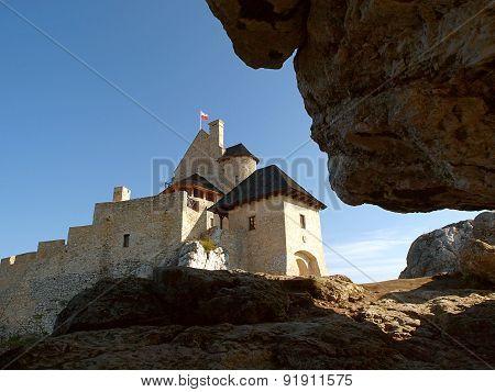 Bobolice castle and big rock.