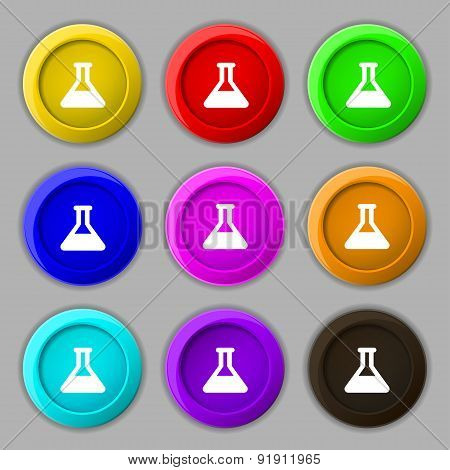 Conical Flask Icon Sign. Symbol On Nine Round Colourful Buttons. Vector
