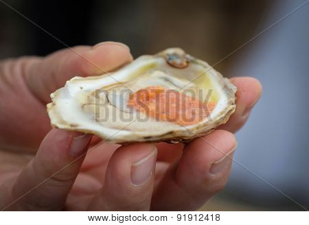 A man holding a raw opened oyster with seafood sauce.