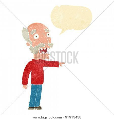 cartoon scared old man pointing with speech bubble