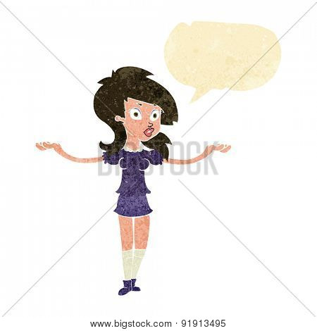 cartoon confused pretty girl with speech bubble
