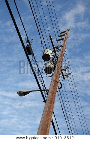 High Voltage Power Lines Line Wooden Utility Pole