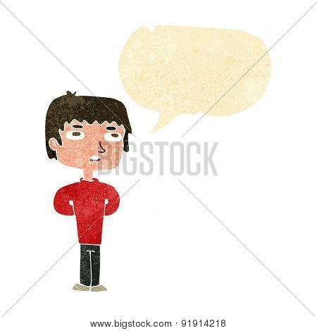 cartoon unhappy man with speech bubble